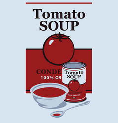 A tin can with label tomato soup vector
