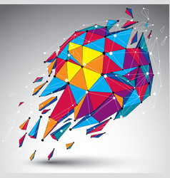 Abstract colorful low poly wrecked object with vector