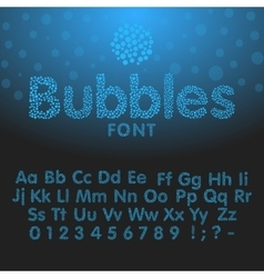 Alphabet letters consisting of blue bubbles vector image