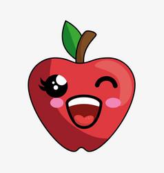 Apple fruit character kawaii vector