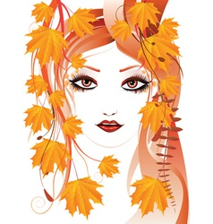 Autumn floral girl2 vector