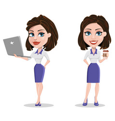 Beautiful business woman holding laptop and vector