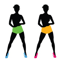 beautiful girls color silhouette vector image