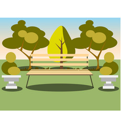 bench under a tree in the park vector image vector image