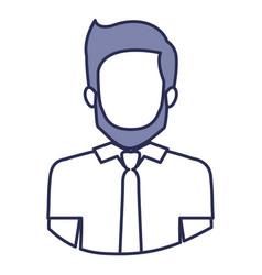 Blue contour of half body of faceless bearded man vector