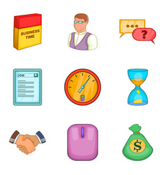 Business squad icons set cartoon style vector