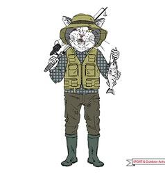 Cat fisherman sport and outdoor activity vector