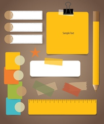 Cute note papers business working elements for web vector