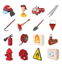 Firefighter cartoon icons set vector image