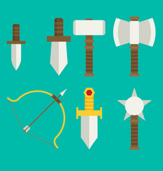 Flat game icons set medieval weapons vector