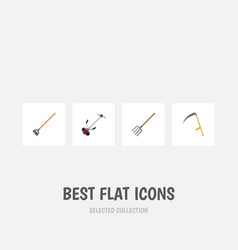 Flat icon dacha set of hay fork tool grass vector