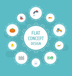 Flat icons gourd farm vehicle ecology and other vector