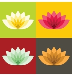 Flat lotos flowers on color background vector