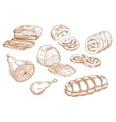 Fresh meat products sketches set vector