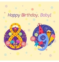 Happy birthday badges icons vector image