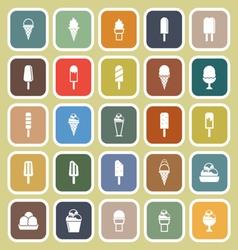 Ice cream flat icons on yellow background vector