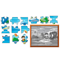 Jigsaw puzzle game with boy surfing vector