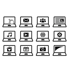 Laptop black icons set vector image