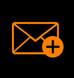 Mail sign with add mark orange icon vector