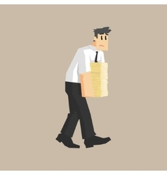 Man carrying pile of papers vector