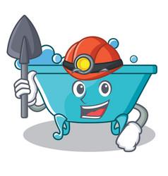 Miner bathtub character cartoon style vector