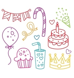 Party elements hand-drawn vector