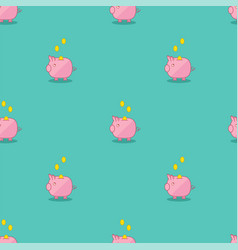Pink and green piggy bank seamless pattern vector
