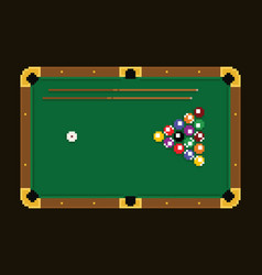 pixel art green billiard table with colorful balls vector image