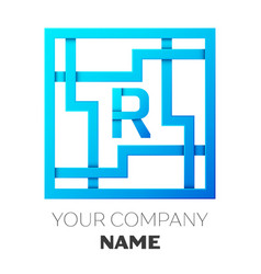 Realistic letter r logo in colorful square maze vector