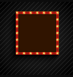 retro billboard with lamps for space text black ba vector image vector image