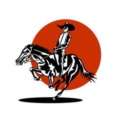 Rodeo Cowboy Riding Horse vector image vector image
