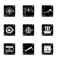 Search of mainland icons set grunge style vector