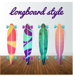 set of longboard skateboards Design vector image vector image