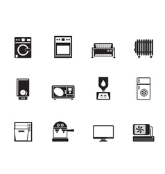 Silhouette Home electronics and equipment icons vector image
