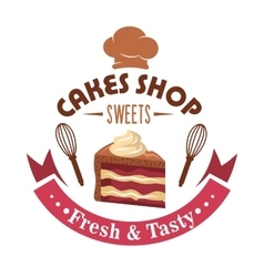 Strawberry cake retro badge for pastry shop design vector image