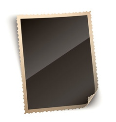 Vintage photo paper frame with curled corner vector