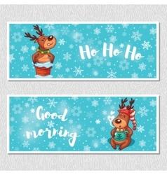 Winter horizontal banners with cute cartoon deer vector
