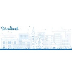 Outline windhoek skyline with blue buildings vector