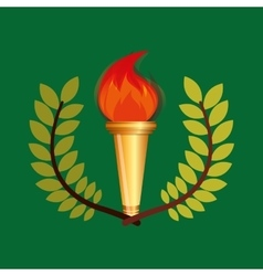 Burning torch olympic games emblem vector