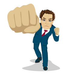 young angry business man punching to front vector image