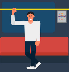 man holding the handrail in the subway or train vector image