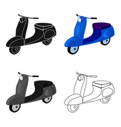 Blue two wheeled scooter transport for moving vector