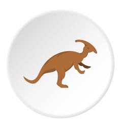 Brown parazavrolofus dinosaur icon circle vector