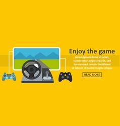 Enjoy the game banner horizontal concept vector