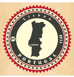 Vintage label-sticker cards of portugal vector