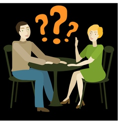 Caucasian couple having conversation vector