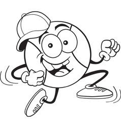 Cartoon running baseball vector