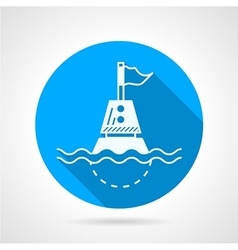 Marine buoy blue round icon vector
