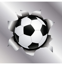 Soccer thru metal sheet vector