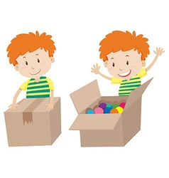 Boy with box sealed and opened vector